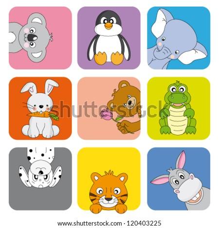 Cartoon animals and pets - stock vector