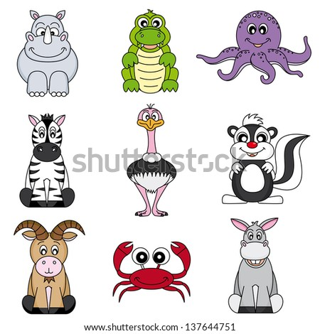 Cartoon animals and pets - stock vector