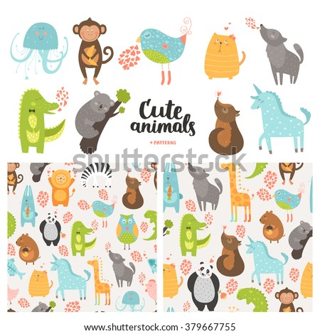 Cartoon animals collection and seamless patterns. Vector cute monkey, bird, koala, jellyfish, cat, panda, dog, crocodile, unicorn, wolf isolated on white background, baby animals in love - stock vector