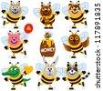 Cartoon animals in honeybee suits - stock vector
