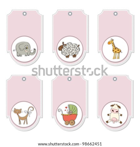 cartoon animals labels set - stock vector