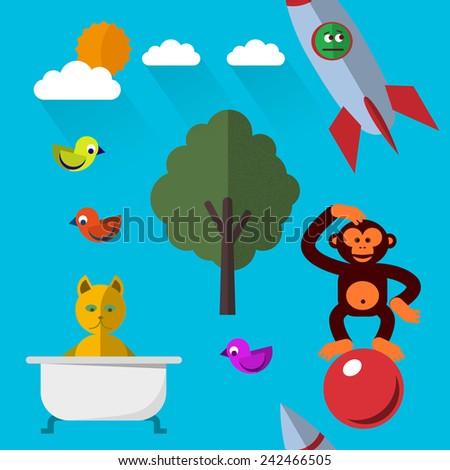 Cartoon animals seamless pattern - stock vector