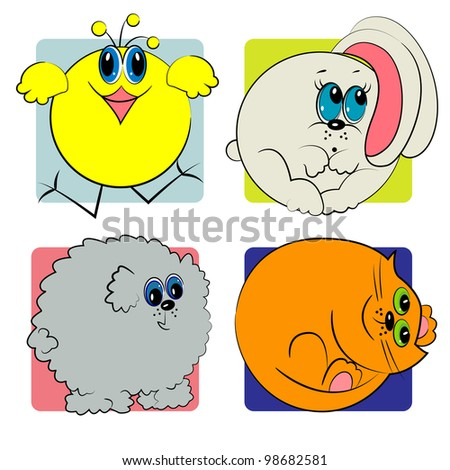 cartoon animals set. zoo animals - stock vector