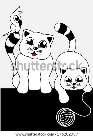 cartoon animals - two cats and parrot - stock vector