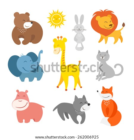 Cartoon animals zoo - stock vector