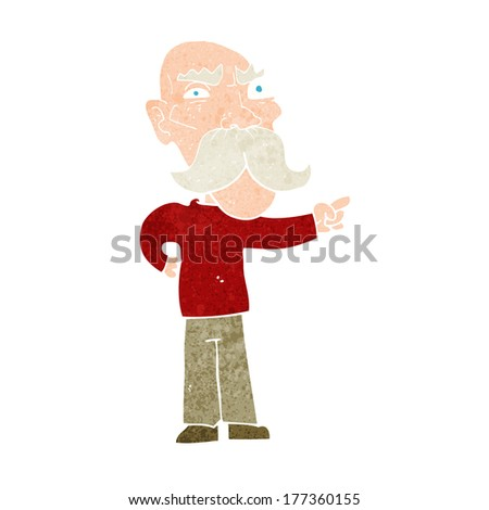 cartoon annoyed old man pointing
