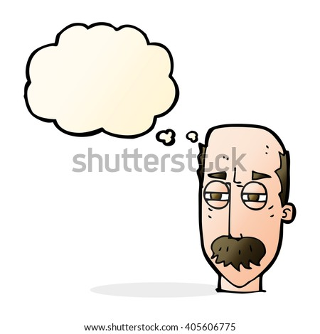 cartoon annoyed old man with thought bubble - stock vector
