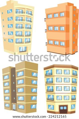 Cartoon Apartment Building Collection Stock Vector