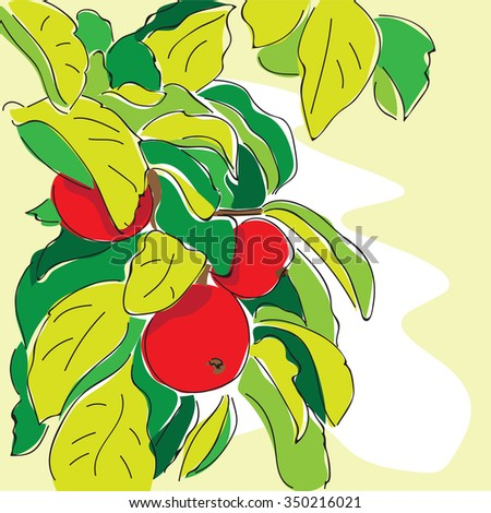cartoon apple tree  in doodle style - vector - stock vector