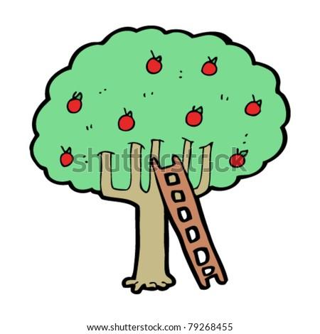 Apple Tree Cartoon Images Cartoon Apple Tree With Ladder