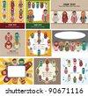 cartoon Arabian peopl card - stock vector