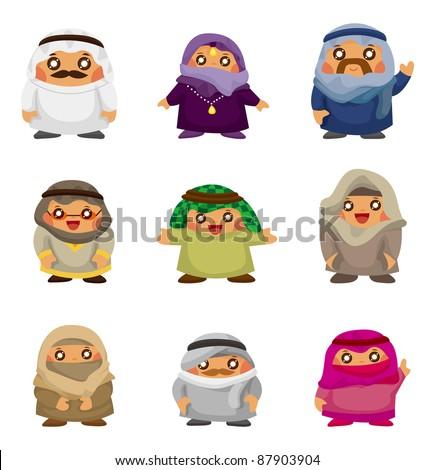 cartoon Arabian people icons - stock vector
