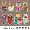 cartoon Arabian people stickers - stock vector