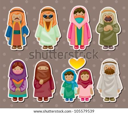 cartoon Arabian people stickers - stock vector