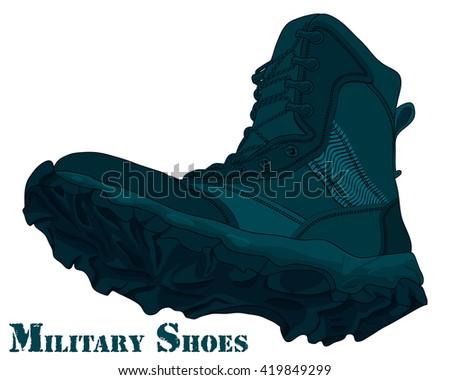 Cartoon Army Boot. Vector Illustration Navy Boots - stock vector