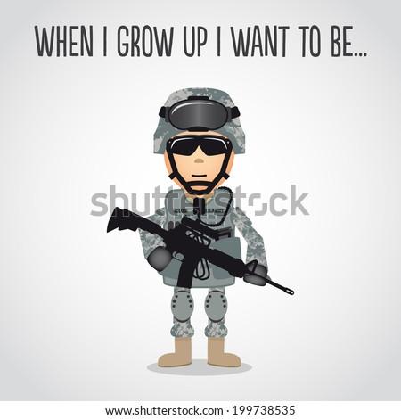 Cartoon Army Soldier - stock vector