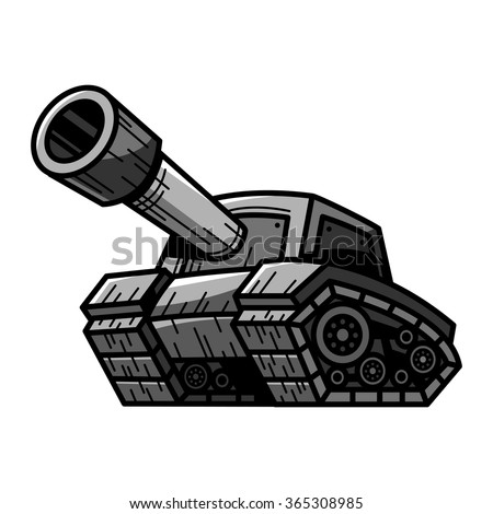 Cartoon Army Tank Machine with Big Cannon Ready to Fire vector illustration