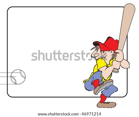 cartoon art of a ball player getting ready to swing at pitched ball. Room for copy - stock vector