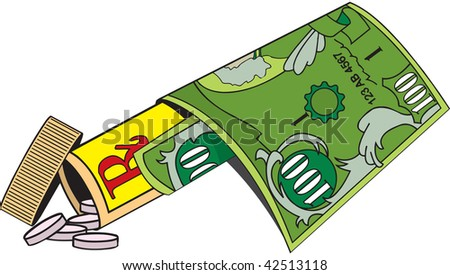 cartoon art of a bottle with prescription pills tumbling out and a Hundred dollar bill wrapped around the bottle. - stock vector