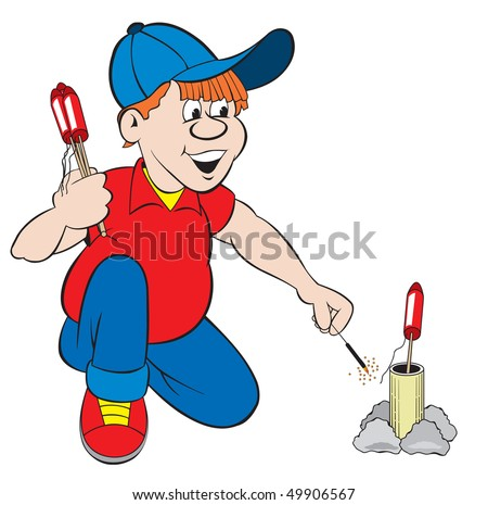 cartoon art of a boy holding bottle rockets in hand and is ready to light another rocket he has set up