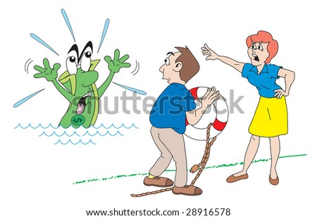 cartoon art of a dollar sinking as couple looks on. Wife urges man to throw in life preserver quick before the dollar sinks lower. - stock vector