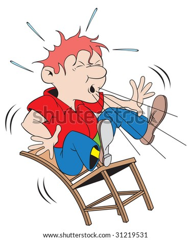 cartoon art of a man sneezing so hard he blows himself off the chair.
