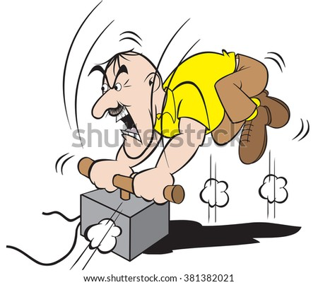 cartoon art of a man who is holding a grudge against someone or something and is going to finish the job.