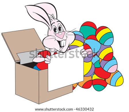 cartoon art of a rabbit playing Jack-in-the-box and raises out of a large box. He's holding a sign (which you can add your wording). There's a bunch of eggs close by. - stock vector