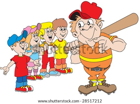 cartoon art of four kids asking an aged ballplayer for his autograph. He seems amused.