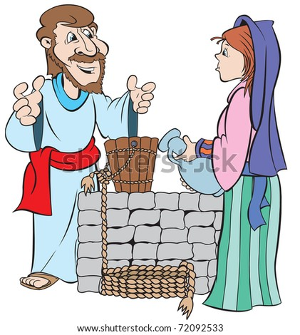 cartoon art of Jesus as he meets up with a woman at the well