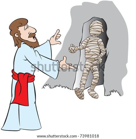cartoon art of jesus as he raises Lazarus from the grave - stock vector