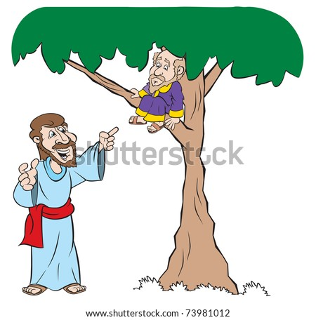 cartoon art of Jesus as he tells Zacchaeus, who is up in a tree, that he is coming to his house - stock vector