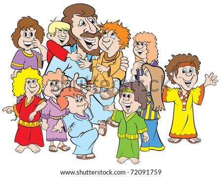 cartoon art of Jesus surrounded by children. Lots of fun here and they love their leader. - stock vector