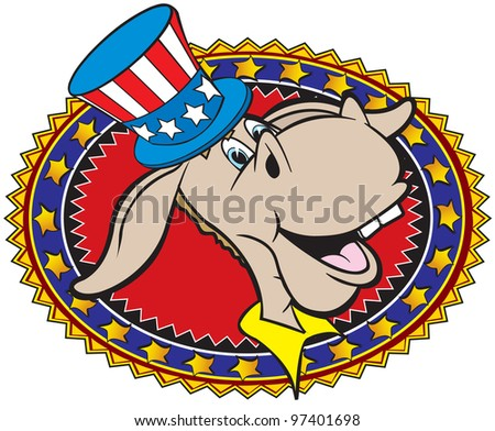 cartoon art of the democratic donkey used as a logo for meetings or gatherings or political rally's