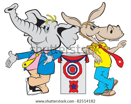 cartoon art of the republican elephant and democrat donkey giving their views from the podium during the debate. - stock vector