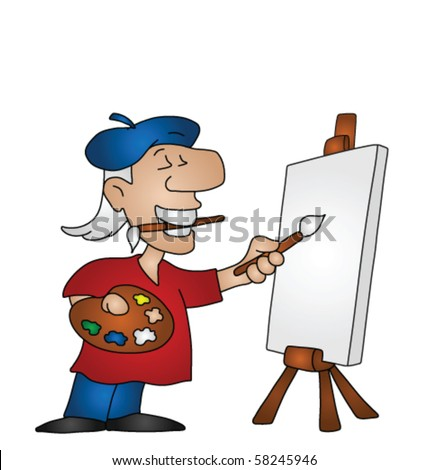 Cartoon artist with copy space on canvas for own text or image - stock vector