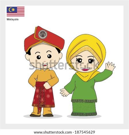 Malaysian People Clipart Cartoon ASEAN Malaysia - stock