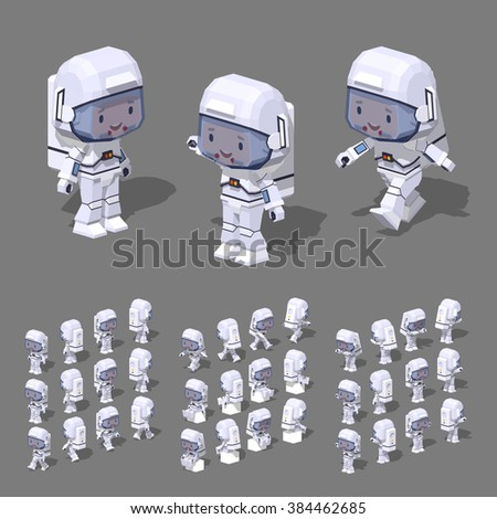 Cartoon astronaut minifigure. 3D lowpoly isometric vector illustration. The set of objects isolated against the grey background and shown from different sides - stock vector