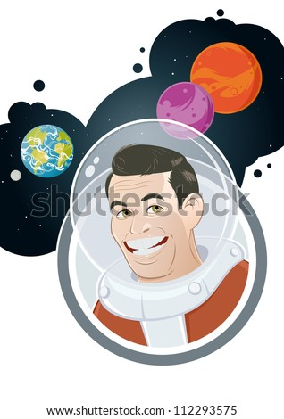 cartoon astronaut with planet background - stock vector