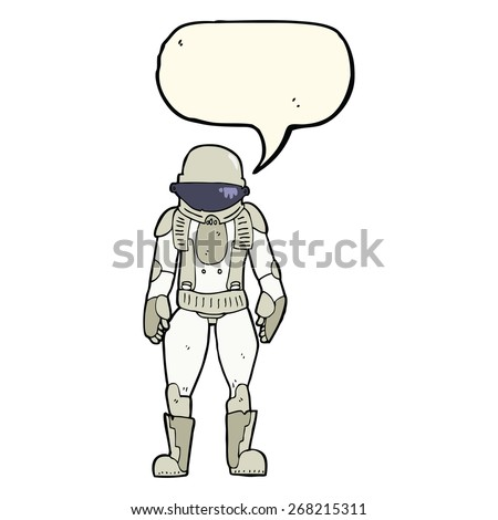 cartoon astronaut with speech bubble - stock vector