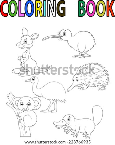 Cartoon Australia animal coloring book - stock vector