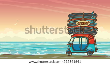 Cartoon auto rickshaw with surfboards on a sunset sky and blue ocean. Vector illustration about surfing. - stock vector