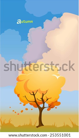 Cartoon autumn landscape with a tree. Vector illustration - stock vector