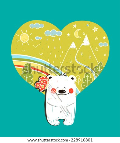Cartoon Baby Bear with Nature Heart Background and Flowers. Hand drawn simple childish bear in nature. Vector illustration. - stock vector