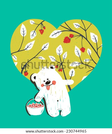 Cartoon Baby Bear with Raspberries Heart Background. Hand drawn simple childish bear and  nature. Vector illustration. - stock vector