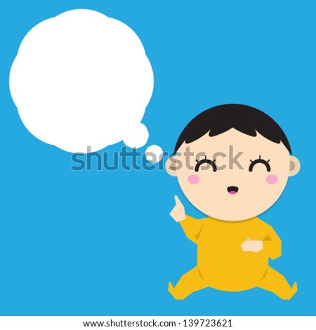 Cartoon baby boy dreaming with a thought bubble. - stock vector