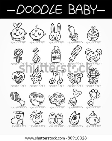 cartoon baby doodle icon set - stock vector