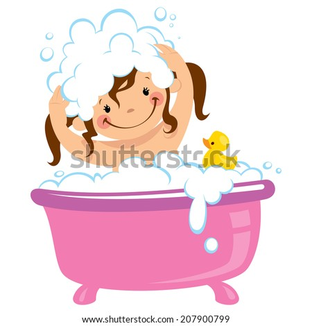 Cartoon baby girl having bath in bathtub with lot of soap lather and rubber duck - stock vector