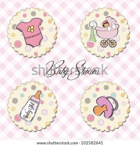 cartoon baby girl items collection - stock vector