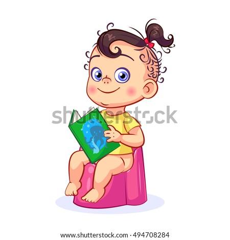 Cartoon Baby Girl Sitting On Pink Stock Vector 494708284